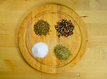 Especias, pimienta, sal, orégano y comino de Difernt Imagenes de archivo