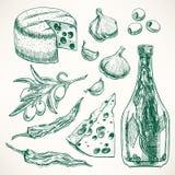 Especias, quesos y verduras Foto de archivo libre de regalías