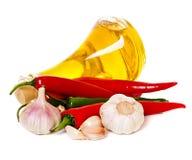 Especias y aceite, chile de la pimienta Imagen de archivo