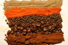 Especias y café coloridos Imagen de archivo libre de regalías