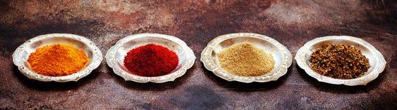 Especias y condimentos indios en cuencos fotos de archivo