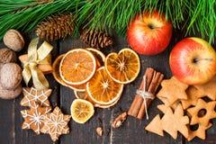 Especias y pan de jengibre de la Navidad Imagen de archivo libre de regalías