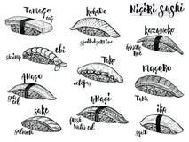 Especie del sushi de Nigiri Línea aislada ejemplos del sushi en el fondo blanco Comida japonesa ilustración del vector