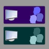 Espectadores de la televisión de la tarjeta ilustración del vector
