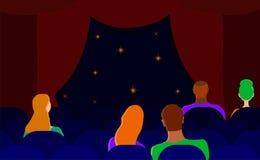 Espectadores no teatro Homens e mulheres no salão Vetor liso ilustração stock