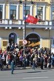 Espectadores Victory Parade en la perspectiva de Nevsky Fotos de archivo