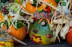 Espectro asustadizo de la calabaza de Halloween Imágenes de archivo libres de regalías