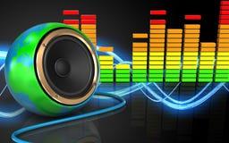espectro audio do áudio do espectro 3d Imagem de Stock