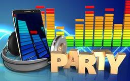 espectro audio do áudio do espectro 3d Ilustração Stock