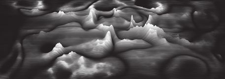 Espectro audio do wavefrom do eco do vetor 3d A música acena o visualização futurista do gráfico da oscilação O Grayscale desvane ilustração royalty free