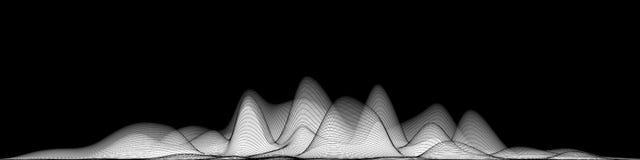 Espectro audio do wavefrom do eco do vetor 3d A música acena o visualização futurista do gráfico da oscilação O Grayscale desvane ilustração do vetor