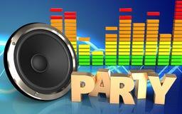 espectro del audio de la muestra del partido 3d Imagenes de archivo