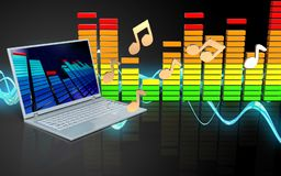 espectro do áudio do laptop 3d Fotos de Stock