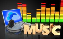 espectro do áudio do portátil 3d e dos fones de ouvido ilustração royalty free