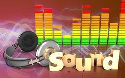 espectro do áudio dos fones de ouvido 3d Fotos de Stock