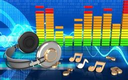 espectro do áudio dos fones de ouvido 3d Imagens de Stock Royalty Free