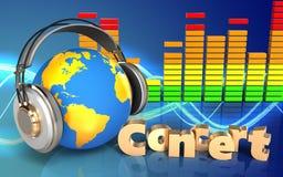 espectro do áudio do sinal do concerto 3d Foto de Stock