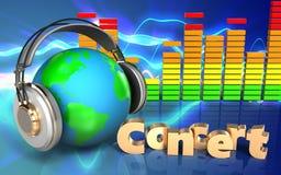 espectro do áudio do sinal do concerto 3d Imagens de Stock