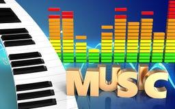 espectro do áudio do sinal da música 3d Fotos de Stock Royalty Free