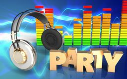 espectro do áudio do sinal do partido 3d Imagens de Stock