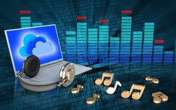 espectro do portátil 3d e dos fones de ouvido ilustração do vetor