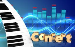 espectro do teclado de piano 3d Imagem de Stock Royalty Free