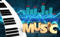 espectro do teclado de piano 3d Fotos de Stock Royalty Free