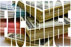 Especulación de la moneda el dólar de la rublo Imágenes de archivo libres de regalías