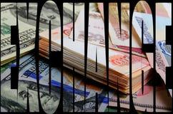 Especulación de la moneda el dólar de la rublo Foto de archivo