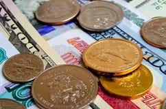 Especulación del urrency del  del dólar Ñ de la rublo Imagen de archivo