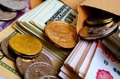 Especulación del urrency del  del dólar Ñ de la rublo Fotografía de archivo libre de regalías