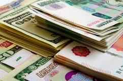 especulación del urrency del  del Rublo-dólar Ñ Fotografía de archivo