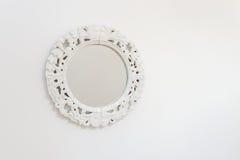Espejo blanco del marco Fotos de archivo libres de regalías