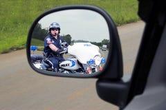 Espejo del poli de motocicleta de la policía Imagen de archivo libre de regalías