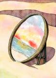 Espejo en la playa Foto de archivo libre de regalías