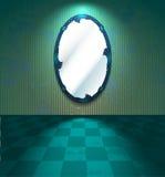 Espejo en un cuarto verde Imagen de archivo libre de regalías