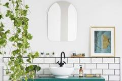 Espejo y cartel en el interior blanco del cuarto de baño con el lavabo y la planta Foto verdadera fotografía de archivo libre de regalías