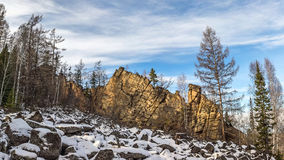Espejos llamados roca en la meseta de Olkhinskoye Imagen de archivo