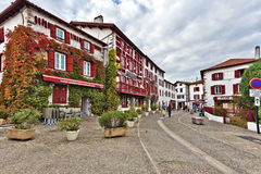 Espelette, France, November 1, 2015 Espelette village in French. Basque country, house walls are traditionally decorated with Red Pappers. Basque province of Royalty Free Stock Photography