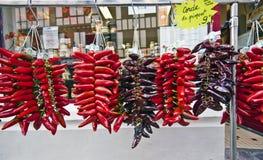 Espelette Frankrike, November 1, 2015 Espelette röda peppar i Royaltyfri Bild