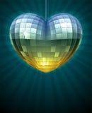 Espelhe a bola do disco na forma do coração Imagens de Stock Royalty Free