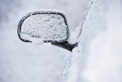 Espelho de vista traseira congelado furado Fotografia de Stock Royalty Free