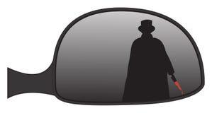 Espelho do lado de Jack The Ripper In Car ilustração stock