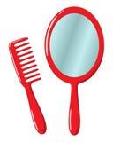 Espelho e pente ilustração do vetor