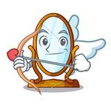 Espelho grande do caráter do cupido no quadro bonito ilustração do vetor
