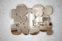Espelho moderno na forma dos seixos que penduram na cena refletindo do design de interiores da parede, na cozinha branca e de mad fotografia de stock royalty free
