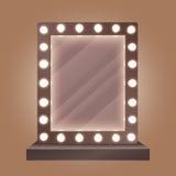 Espelho realístico da composição com ilustração do vetor dos bulbos ilustração royalty free