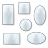 Espelhos realísticos do vetor ajustados com reflexão obscura ilustração royalty free