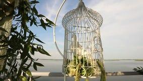 Espera blanca de la paloma de la boda en una jaula en los recienes casados almacen de video