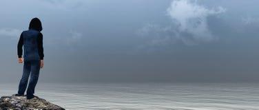 Espera cinzenta do mar Imagem de Stock